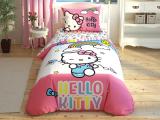 "Set lenjerie pt adolescenti Ranforce ""Hello Kitty Rainbow"", 160*220 cm, 3 piese"